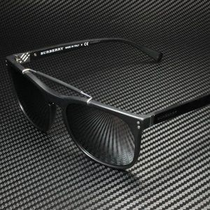 Burberry Matte Black Mirror Sunglasses 56mm